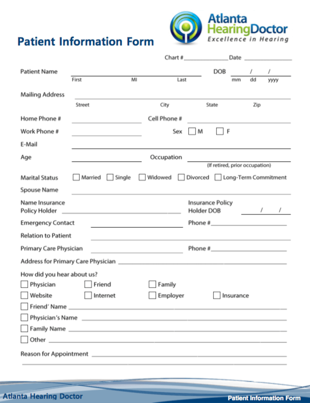 Atlanta Hearing Doctor - Patient Information Form