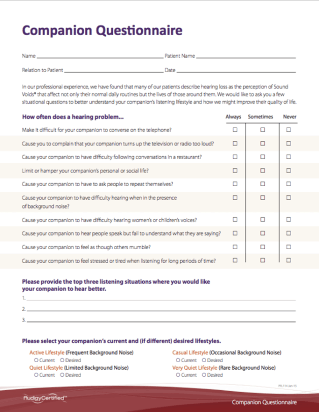 Atlanta Hearing Doctor - Companion Questionnaire
